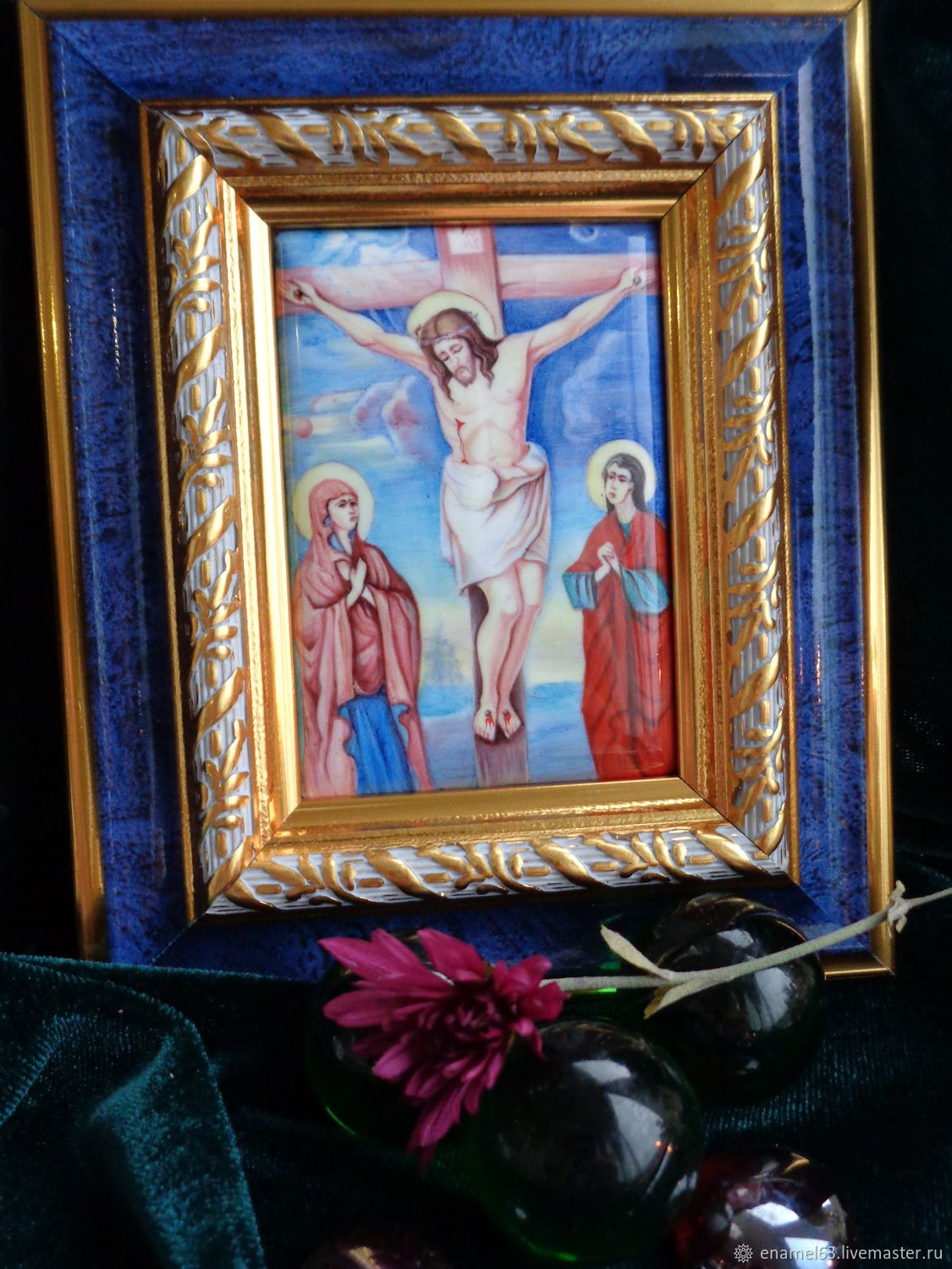 Painting on enamel 'the Crucifixion', Figurines in Russian style, Tolyatti,  Фото №1