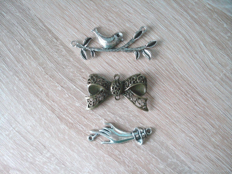 Для украшений ручной работы. Ярмарка Мастеров - ручная работа. Купить Коннектор металлический античное серебро бронза ассортимент. Handmade.