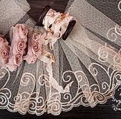 Материалы для творчества ручной работы. Ярмарка Мастеров - ручная работа Кружевной набор 382 вышивка на сетке шебби ленты. Handmade.