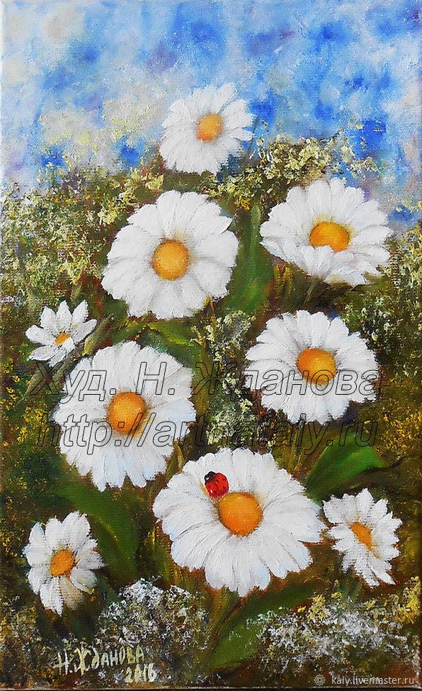 Картина полевые цветы Ромашки в раме, Картины, Санкт-Петербург,  Фото №1