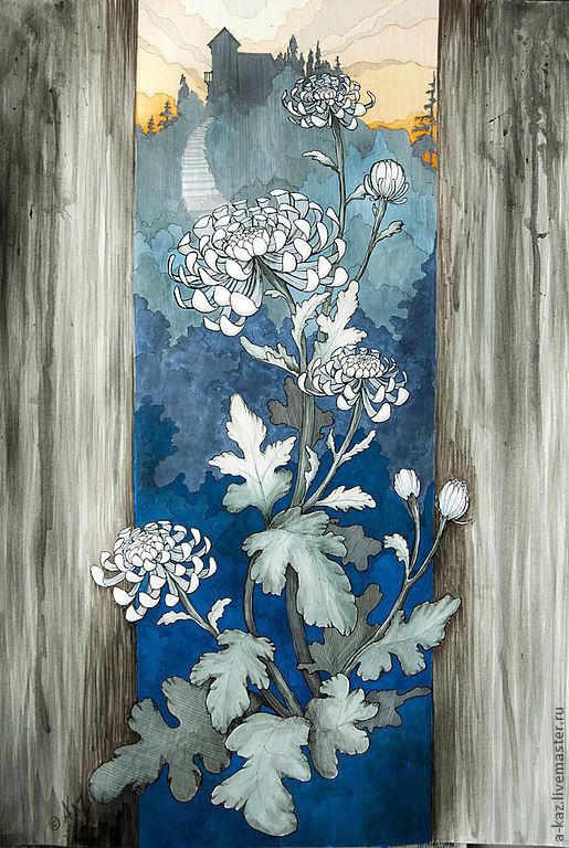 Пейзаж ручной работы. Ярмарка Мастеров - ручная работа. Купить Хризантемы. Handmade. Цветы, картина для интерьера, графика, акварель, листья