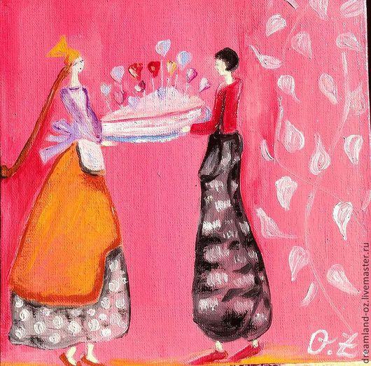"""Фантазийные сюжеты ручной работы. Ярмарка Мастеров - ручная работа. Купить Картина маслом"""" Я подарю тебе любовь"""". Handmade."""
