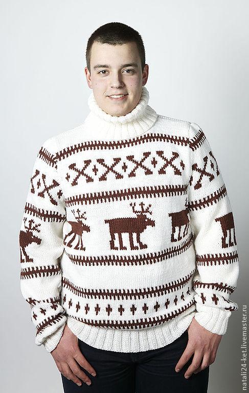 Кофты и свитера ручной работы. Ярмарка Мастеров - ручная работа. Купить свитер с оленями. Handmade. Белый, на заказ, теплый, вязание