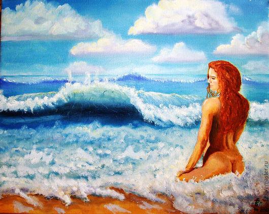 """Ню ручной работы. Ярмарка Мастеров - ручная работа. Купить Авторская картина маслом """"Слушая голос моря"""". Handmade. Море"""