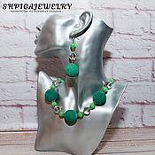 Украшения handmade. Livemaster - original item Jewelry set-lava, agate and rock crystal