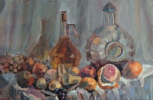 Натюрморт ручной работы. Ярмарка Мастеров - ручная работа. Купить Натюрморт с фруктами и напитками. Handmade. Бежевый, натюрморт, фрукты, напитки