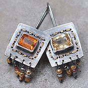 Украшения handmade. Livemaster - original item Earrings with Imperial Topaz, silver and Goldfield. Handmade.