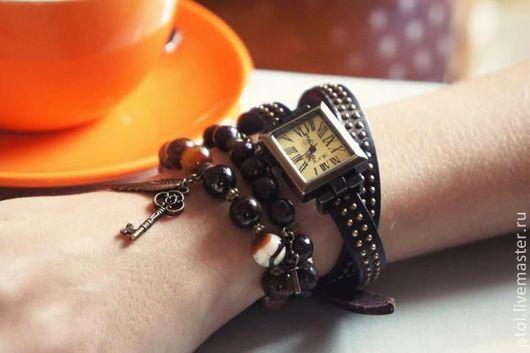 """Часы ручной работы. Ярмарка Мастеров - ручная работа. Купить Часы-намотки в винтажном стиле """"Ксю!"""". Handmade. Коричневый, крылья"""
