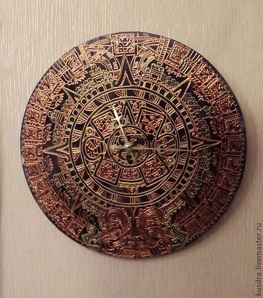 Часы для дома ручной работы. Ярмарка Мастеров - ручная работа. Купить часы Календарь Майя. Handmade. Золотой, майя, стекло
