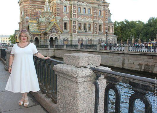Платья ручной работы. Ярмарка Мастеров - ручная работа. Купить Платье миди белое джерси. Handmade. Белый, для полных, клеш