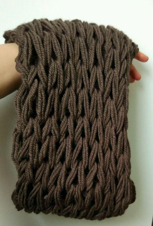 Шарфы и шарфики ручной работы. Ярмарка Мастеров - ручная работа. Купить Коричневый шарф снуд крупной вязки мужской. Handmade.