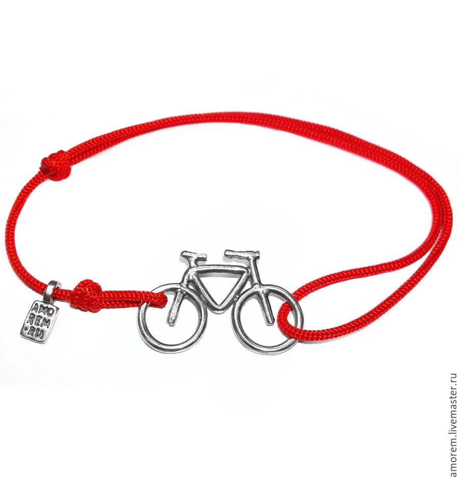 Браслет на нити велосипед контурный, серебро 925, Браслеты, Москва, Фото №1
