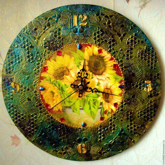 """Часы для дома ручной работы. Ярмарка Мастеров - ручная работа. Купить Часы """"Подсолнухи"""". Handmade. Часы, лето, букет подсолнухов"""