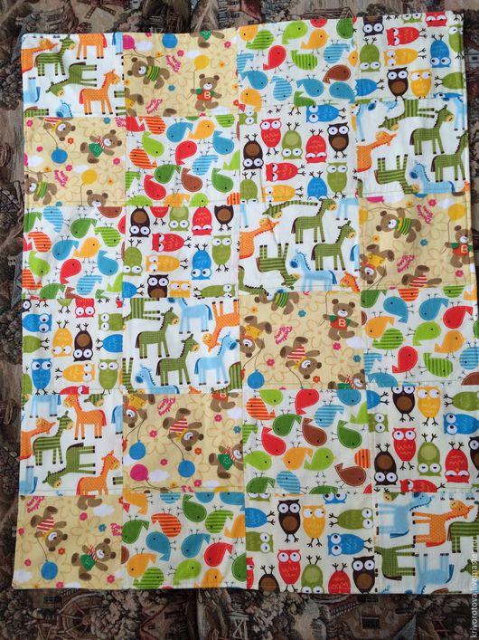 """Для новорожденных, ручной работы. Ярмарка Мастеров - ручная работа. Купить Летнее одеяло """"Зоопарк"""". Handmade. Лоскутное шитье"""