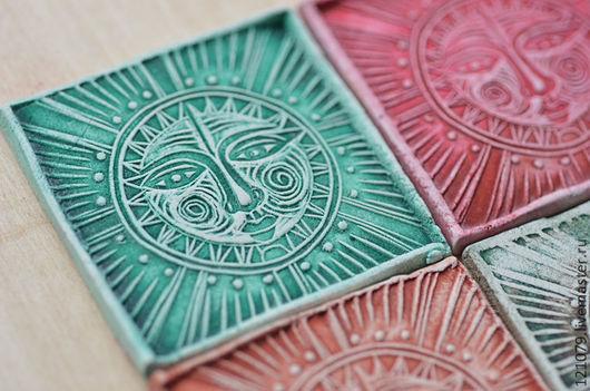 """Магниты ручной работы. Ярмарка Мастеров - ручная работа. Купить Магнитик """"Солнце"""". Handmade. Магнит, ацтеки, сувенир из глины, лак"""