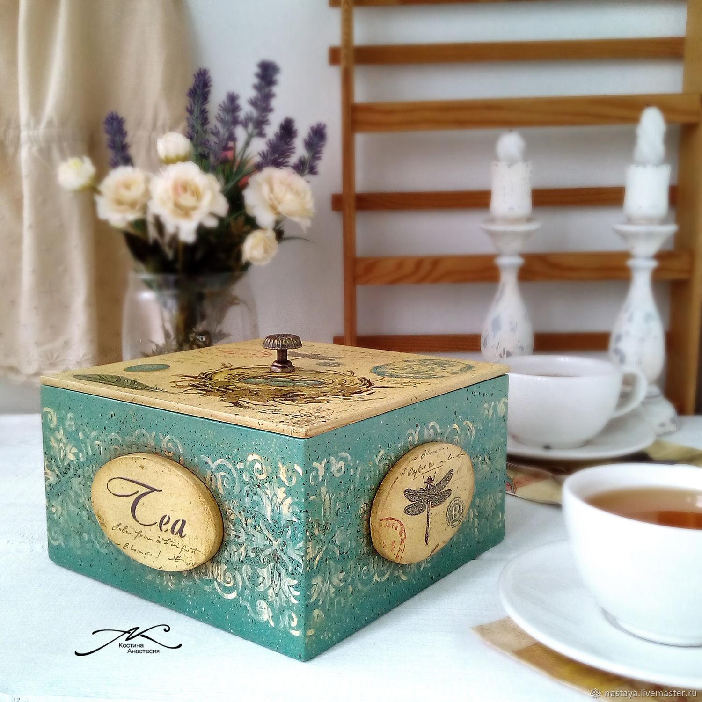 Tea box made of wood vintage Provence decoupage turquoise, Storage Box, Barnaul,  Фото №1