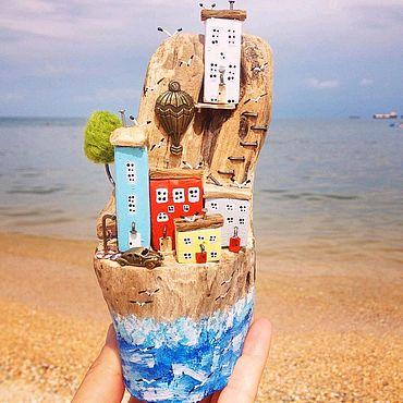 Для дома и интерьера ручной работы. Ярмарка Мастеров - ручная работа Дрифтвуд домики Утёс на скалистом берегу. Handmade.