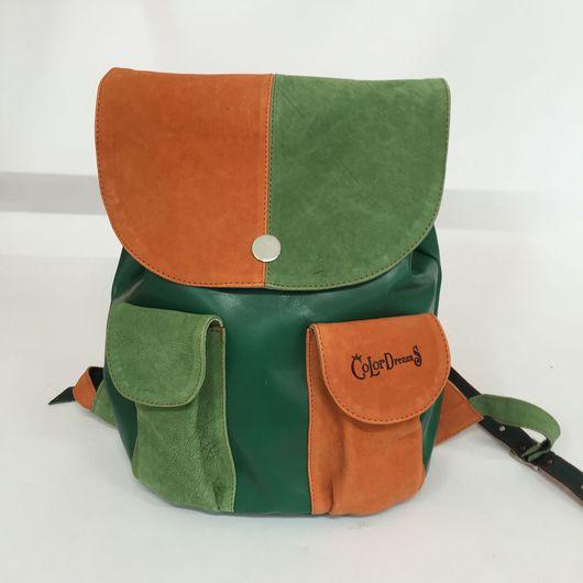 Рюкзаки ручной работы. Ярмарка Мастеров - ручная работа. Купить Рюкзак зелёный. Handmade. Кожа натуральная, замшевая сумка