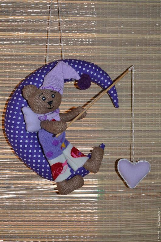 Куклы Тильды ручной работы. Ярмарка Мастеров - ручная работа. Купить Лунный Мишка-Сердцелов. Handmade. Фиолетовый, подарок женщине