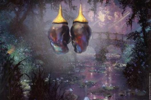 """Серьги ручной работы. Ярмарка Мастеров - ручная работа. Купить """"Волшебные цветы"""" серьги с барочным жемчугом. Handmade. Синий"""