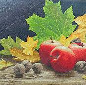 """Картины и панно ручной работы. Ярмарка Мастеров - ручная работа Картина-вышивка """"Осенние яблоки"""". Handmade."""