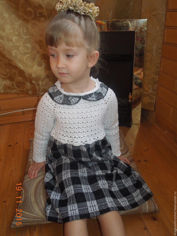 Вязаное платье с юбкой из ткани