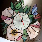 """Для дома и интерьера ручной работы. Ярмарка Мастеров - ручная работа Витражные часы """"Любимые цветы.."""". Handmade."""