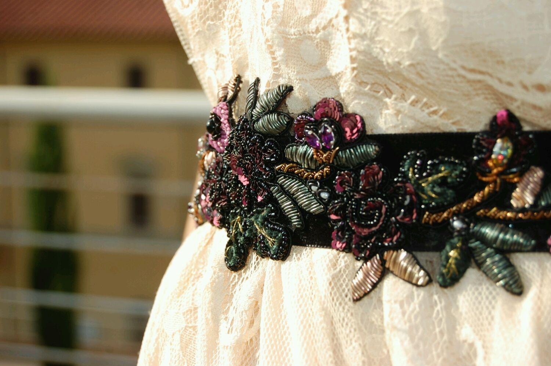 El veranillo de san horaria, los pequeños tops bordados a mano al italiano kruzhevu, Belt, Florence,  Фото №1