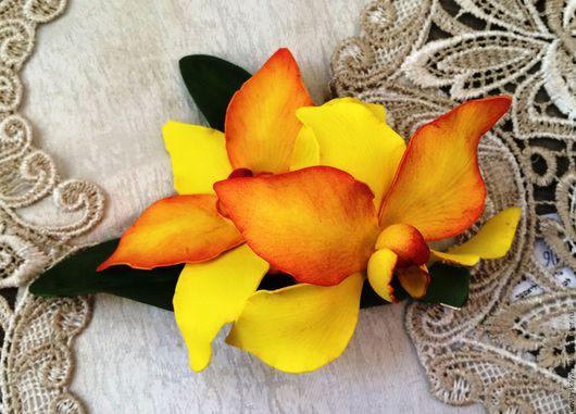 Заколки ручной работы. Ярмарка Мастеров - ручная работа. Купить Заколка для волос с желтыми орхидеями. Handmade. Желтый, цветы, ревелюр