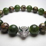 Украшения handmade. Livemaster - original item Bracelet jade and leopard Jasper