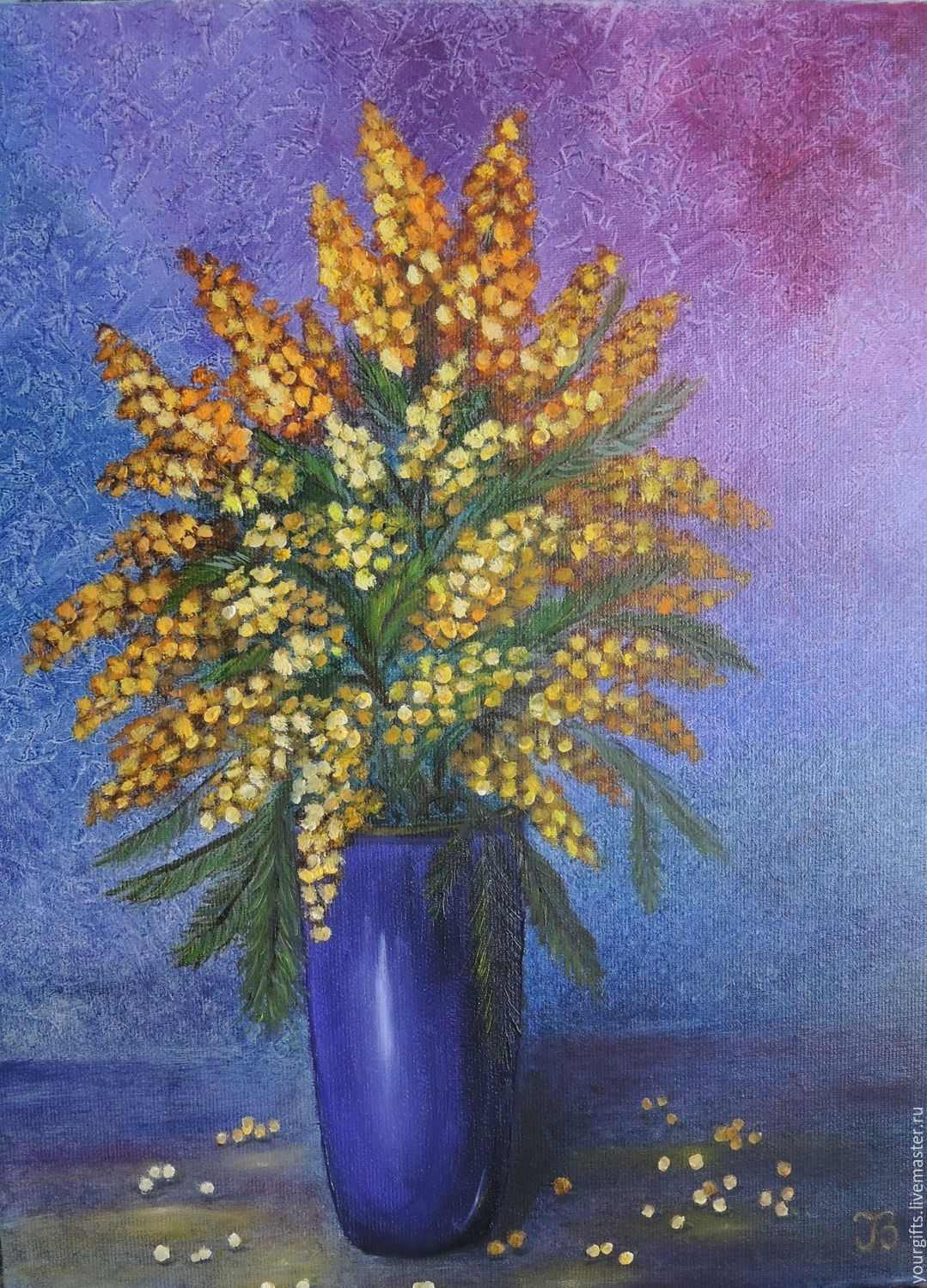 Bouquet of Mimosa Oil Painting Flowers in a vase – shop ...