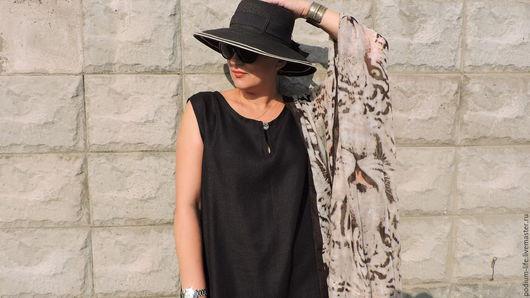 Платья ручной работы. Ярмарка Мастеров - ручная работа. Купить Платье из льна  Бохо  чёрное  № 10 на каждый день.. Handmade.
