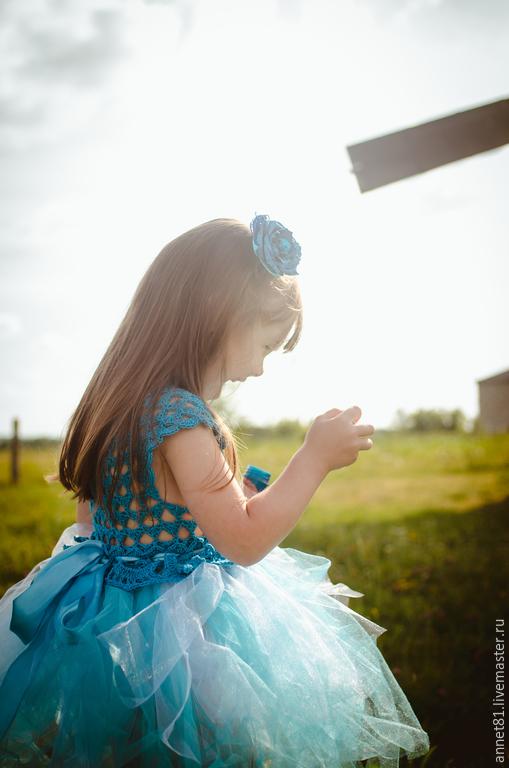 """Одежда для девочек, ручной работы. Ярмарка Мастеров - ручная работа. Купить Вязаное платье крючком """"Незабудка"""". Handmade. Голубой"""