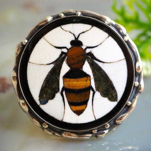 """Кольца ручной работы. Ярмарка Мастеров - ручная работа. Купить Кольцо """"Пчела"""" - флорентийская мозаика, серебро. Handmade. пчела"""