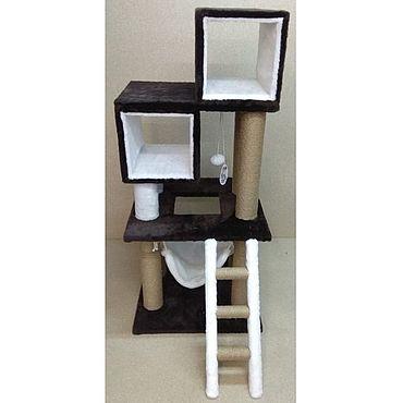 Товары для питомцев ручной работы. Ярмарка Мастеров - ручная работа Балуй-30 джут суперкомплекс с двумя домами, гамаком и лестницей. Handmade.