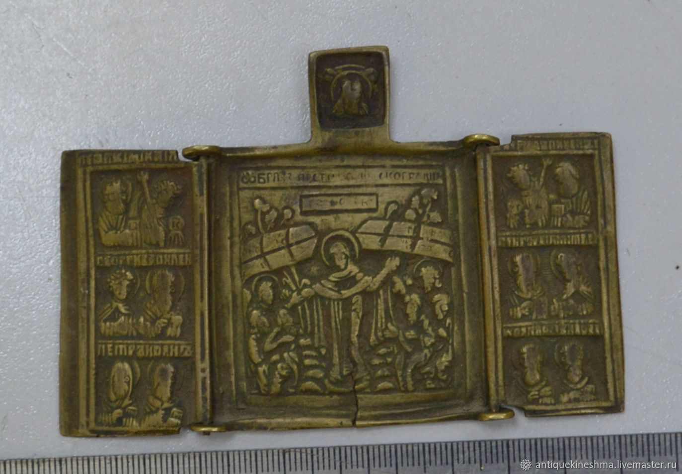 Antique icon mother of God joy of All who sorrow triptych 19th century, Vintage interior, Kineshma,  Фото №1