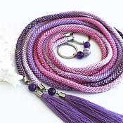 Аксессуары handmade. Livemaster - original item Thin beaded rope belt with amethyst Gradient lilac pink. Handmade.