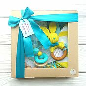 Куклы и игрушки handmade. Livemaster - original item Gift set for boy yellow-turquoise. Handmade.