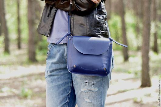 Кожаная сумка на плечо, кожаная сумка синяя, Ирина Болдина, наплечная кожаная сумка под документы, кожаная сумка небольшая, маленькая кожаная синяя сумка на плечо