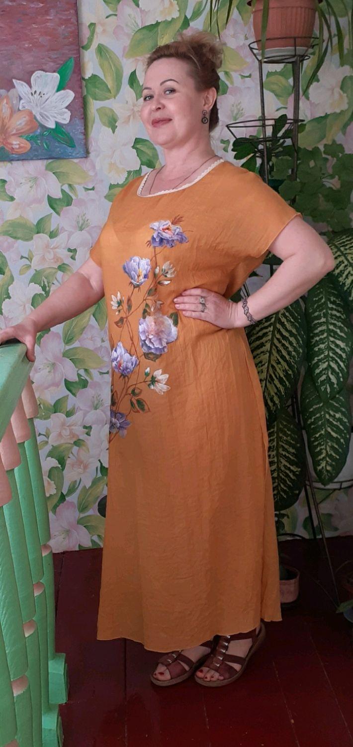 Платье из маркизета с росписью и аппликациями, Платья, Темрюк,  Фото №1