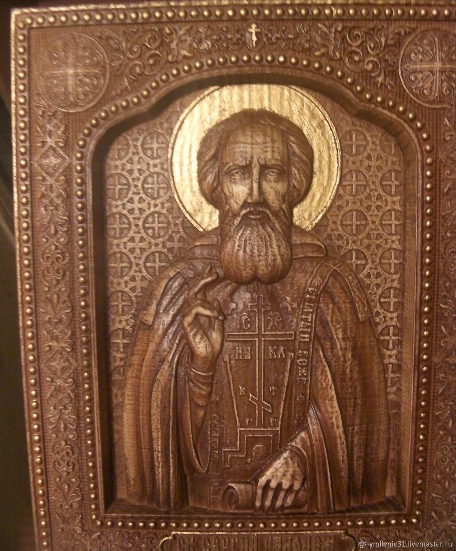 Резная икона Сергий Радонежский, Иконы, Белгород,  Фото №1