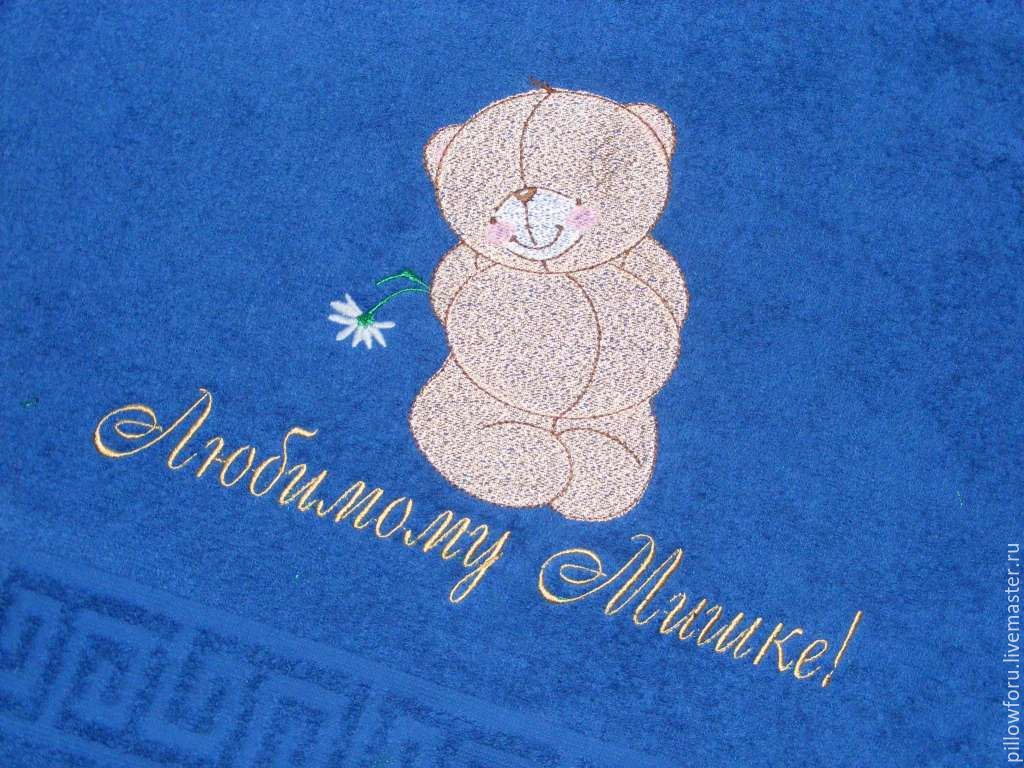 Медведь вышивка на халате