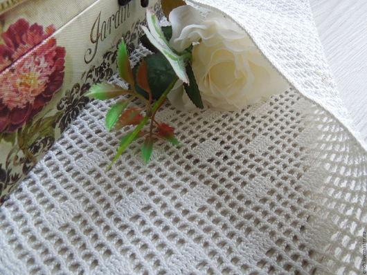Текстиль, ковры ручной работы. Ярмарка Мастеров - ручная работа. Купить Салфетка для Декора Квадраты. Handmade. Белый, салфетка декоративная