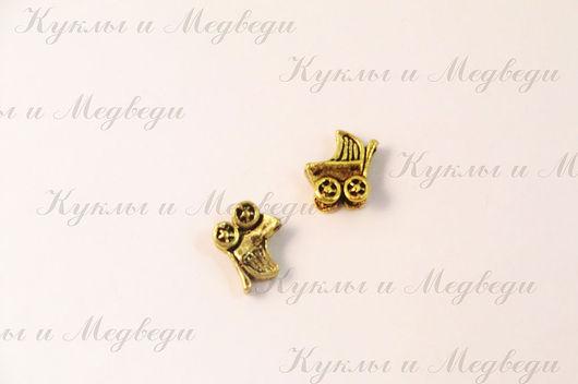 Р-117 Подвеска Колясочка, 12x12мм, цвет сост.золото