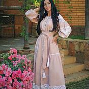 Одежда handmade. Livemaster - original item Linen dress with hand embroidery