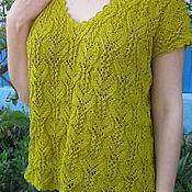 Одежда handmade. Livemaster - original item Top knitted summer women`s cotton Heart gift romance. Handmade.