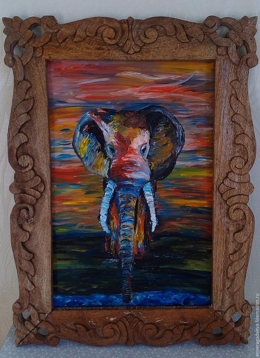 """Животные ручной работы. Ярмарка Мастеров - ручная работа. Купить Картина """"Слон.Цвета жизни"""". Handmade. Разноцветный, интерьерная картина"""
