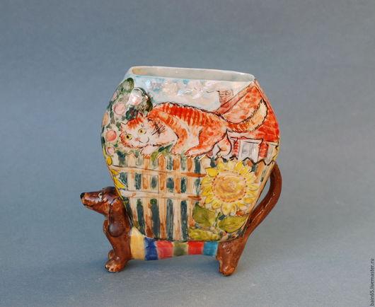 """Вазы ручной работы. Ярмарка Мастеров - ручная работа. Купить """"Кот и Пёс"""".. Handmade. Разноцветный, фигурка собаки, веселый подарок"""