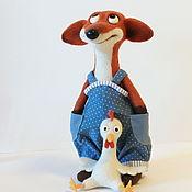 Войлочная игрушка ручной работы. Ярмарка Мастеров - ручная работа Лис с курицей 28 см. Handmade.