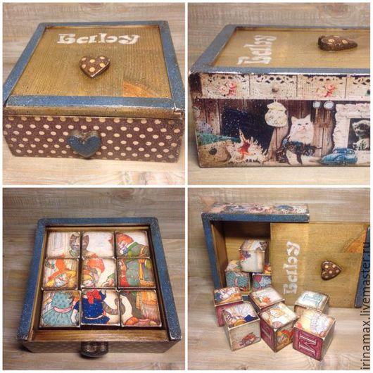 """Развивающие игрушки ручной работы. Ярмарка Мастеров - ручная работа. Купить Набор кубиков """"Кошкин Дом"""". Handmade. Разноцветный"""